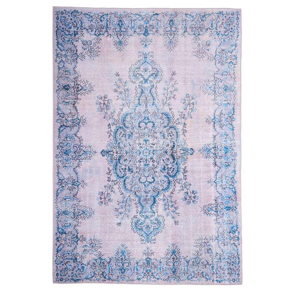 Floorita Easy-care vloerkleed Sonja – naturel/blauw – 160×230 cm – Leen Bakker