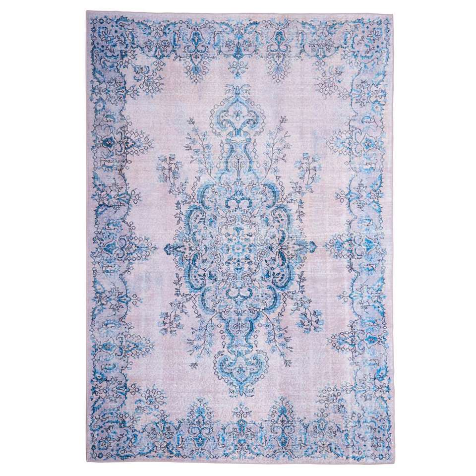 Floorita Easy-care vloerkleed Sonja - naturel/blauw - 200x290 cm