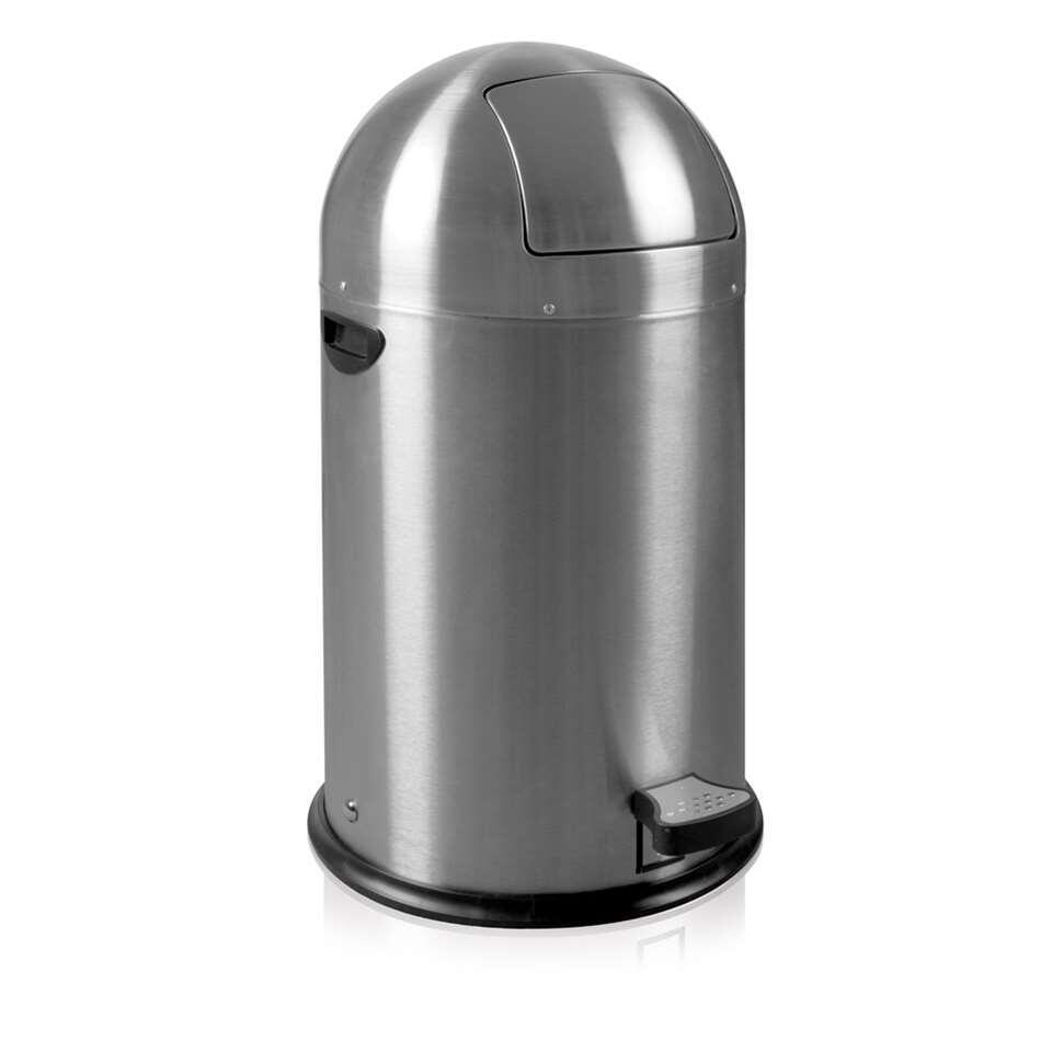 EKO pedaalemmer Kickcan - zilverkleurig - 33l - Leen Bakker