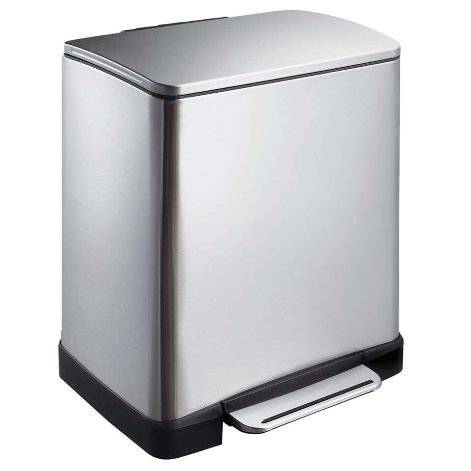 EKO recycling pedaalemmer E-Cube - zilverkleurig - 10+9l - Leen Bakker