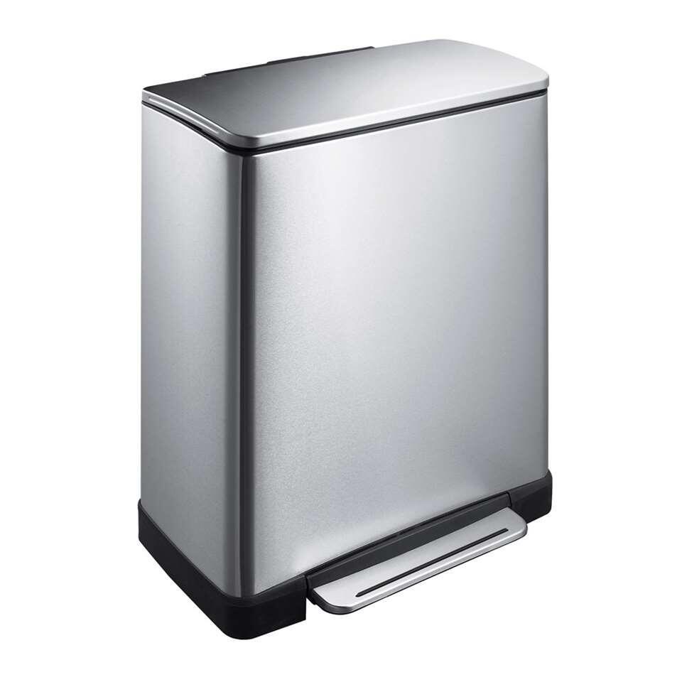 EKO recycling pedaalemmer E-Cube - zilverkleurig - 28+18l