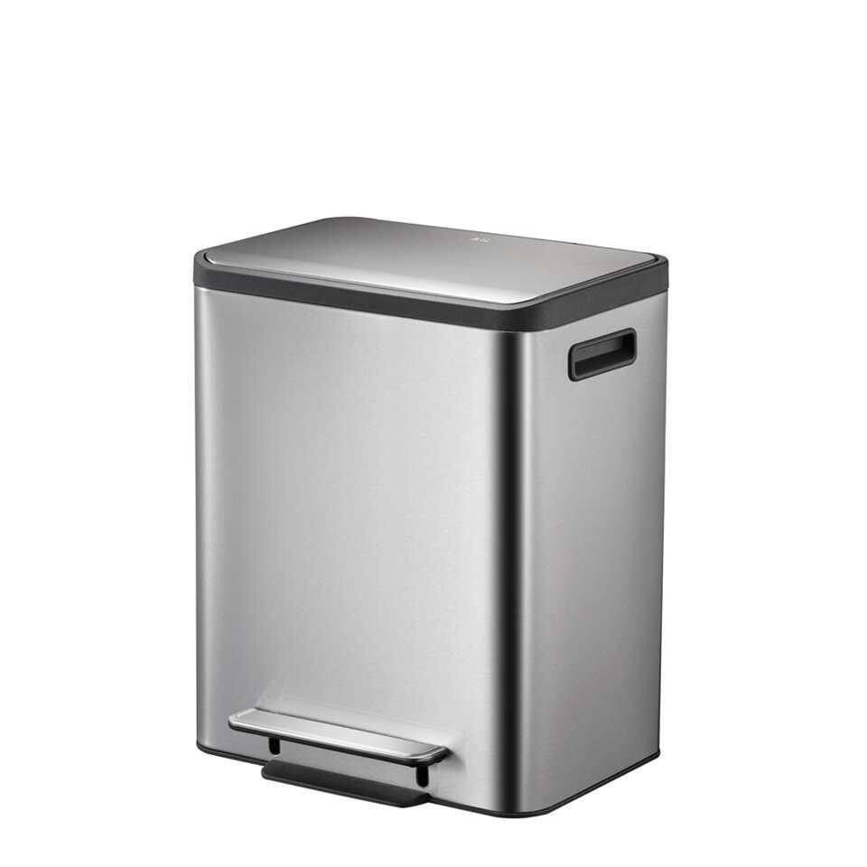EKO recycling pedaalemmer EcoCasa - zilverkleurig - 2x15l