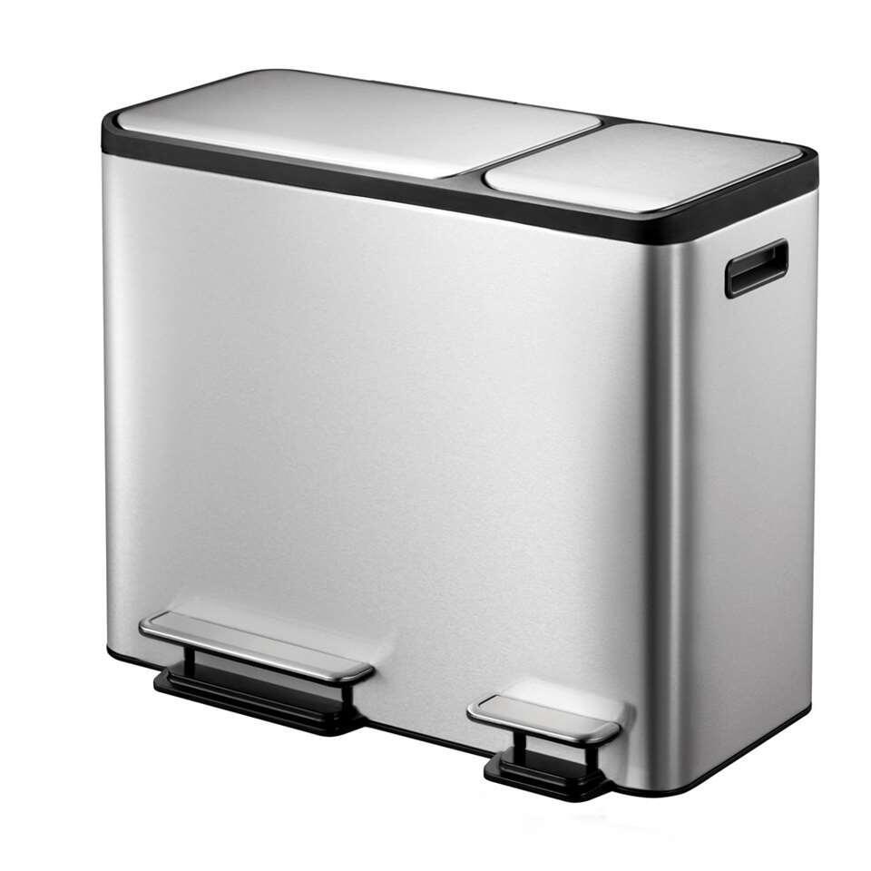 EKO recycling pedaalemmer EcoCasa – zilverkleurig – 30+15l – Leen Bakker