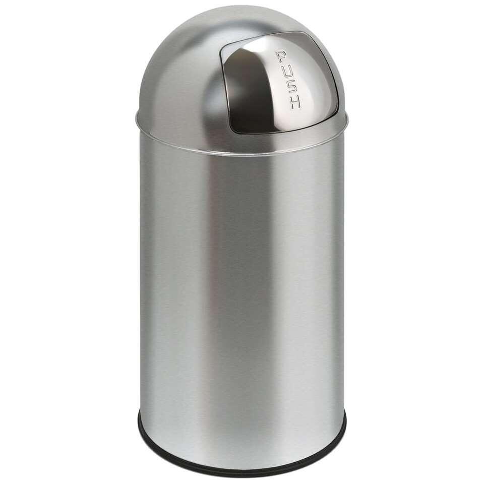 EKO afvalbak Pushcan - zilver - 40l