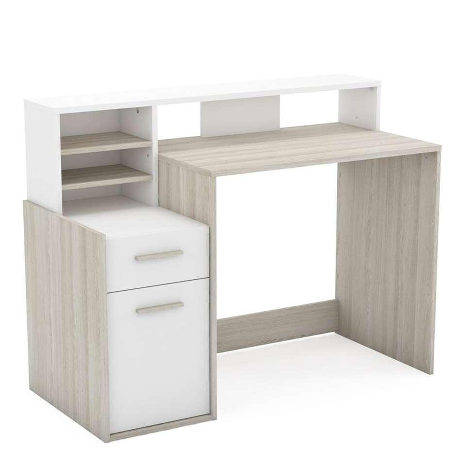 Demeyere bureau Delphi - 1 lade + 1 deur - wit - Leen Bakker