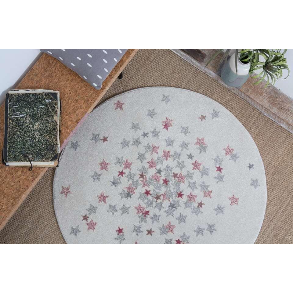 Art for Kids vloerkleed Nova - roze - Ø120 cm - Leen Bakker