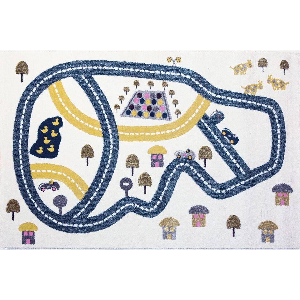 Art for Kids vloerkleed Racebaan - blauw - 135x190 cm - Leen Bakker