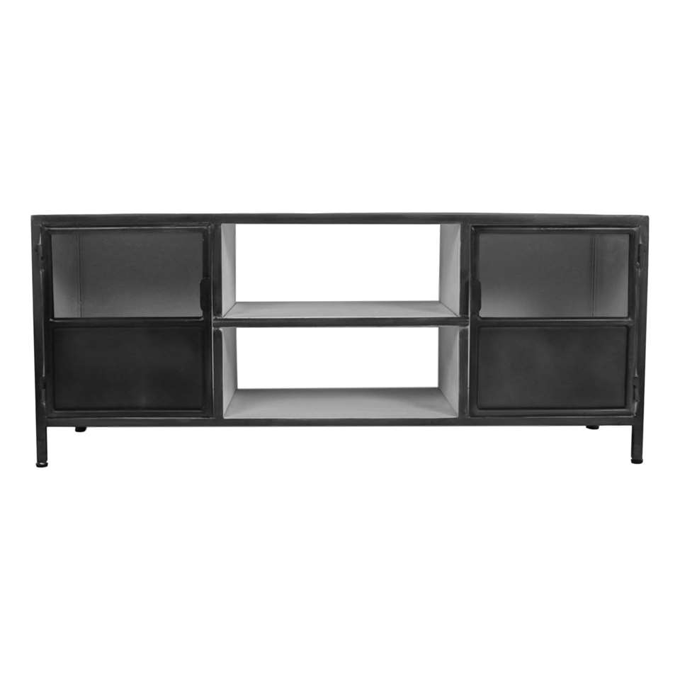 HSM Collection TV-dressoir Bronx - grijs/wit - 130x45x55 cm - Leen Bakker