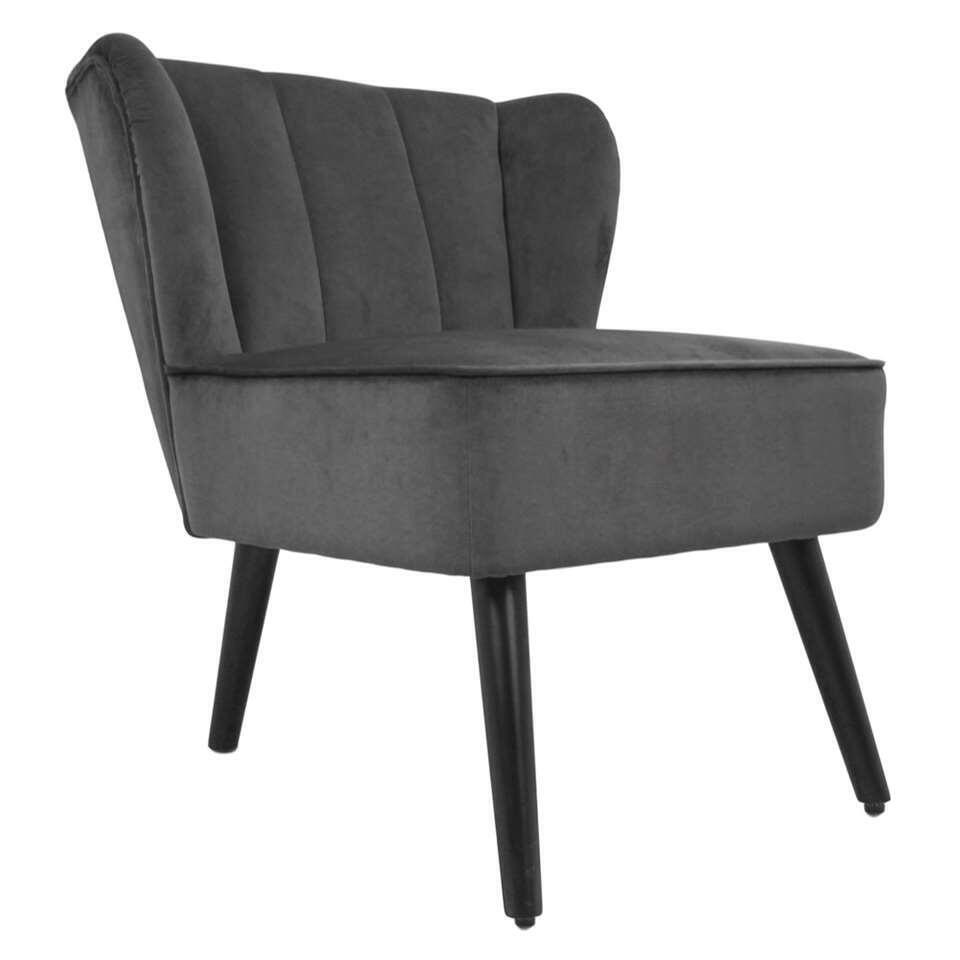 HSM Collection fauteuil Odessa - velours - gris foncé