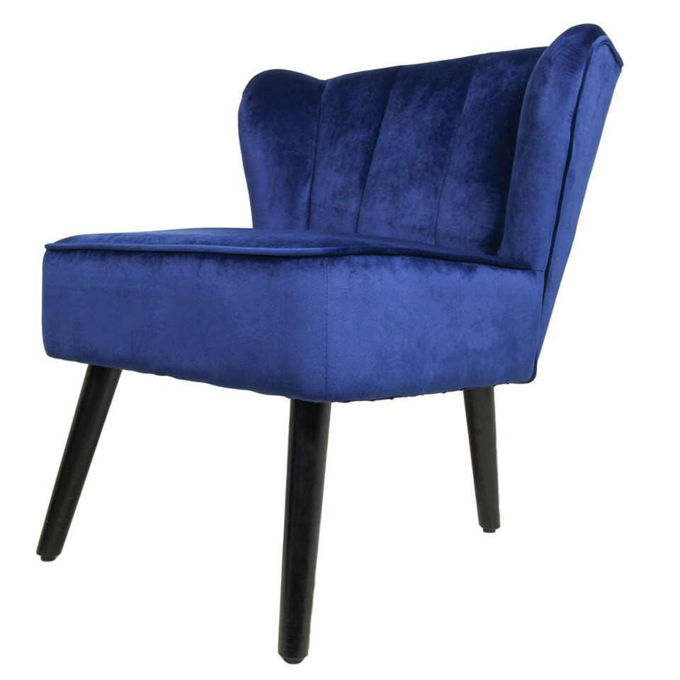 HSM Collection fauteuil Odessa - velvet - donkerblauw