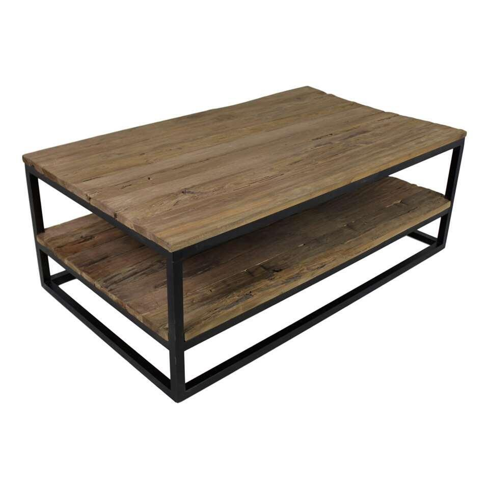 HSM Collection salontafel met onderplank Leroy - naturel/mat zwart - 120x70x44 cm - Leen Bakker