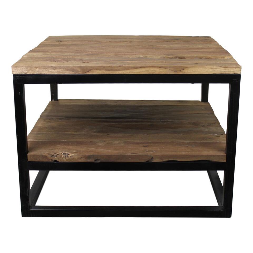 HSM Collection salontafel met onderplank Leroy - naturel/mat zwart - 60x60x44 cm