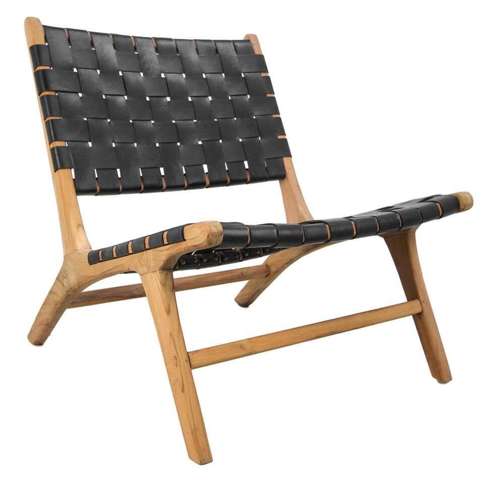 HSM Collection loungestoel Boas - leder - zwart
