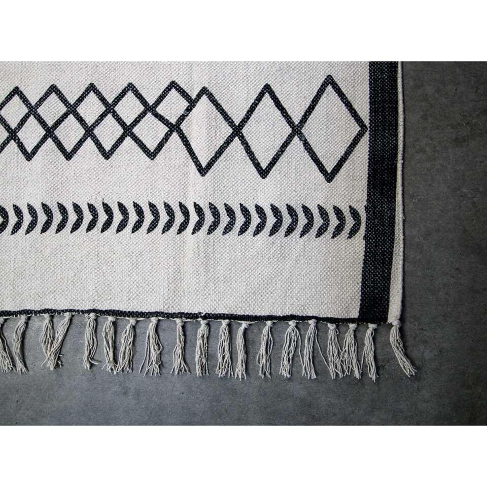 HSM Collection vloerkleed Borris - zwart/wit - 180x120 cm
