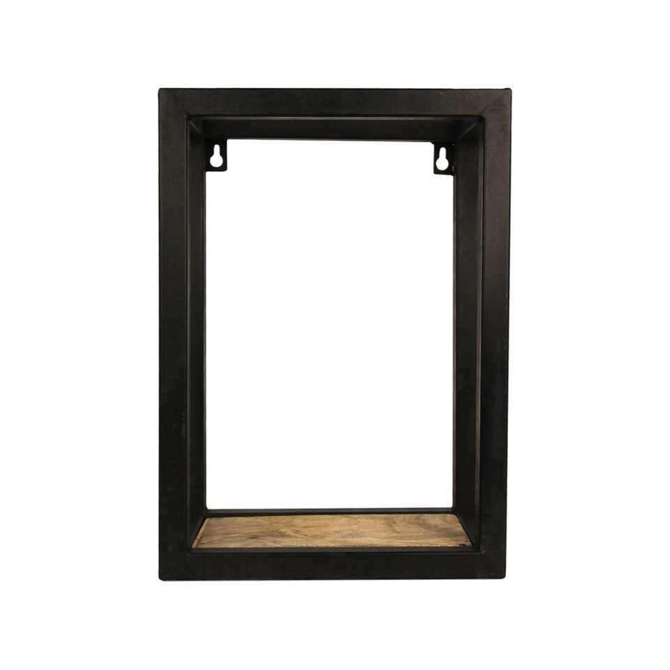 HSM Collection wandbox Levels - naturel/zwart - 25x14x35 cm - Leen Bakker