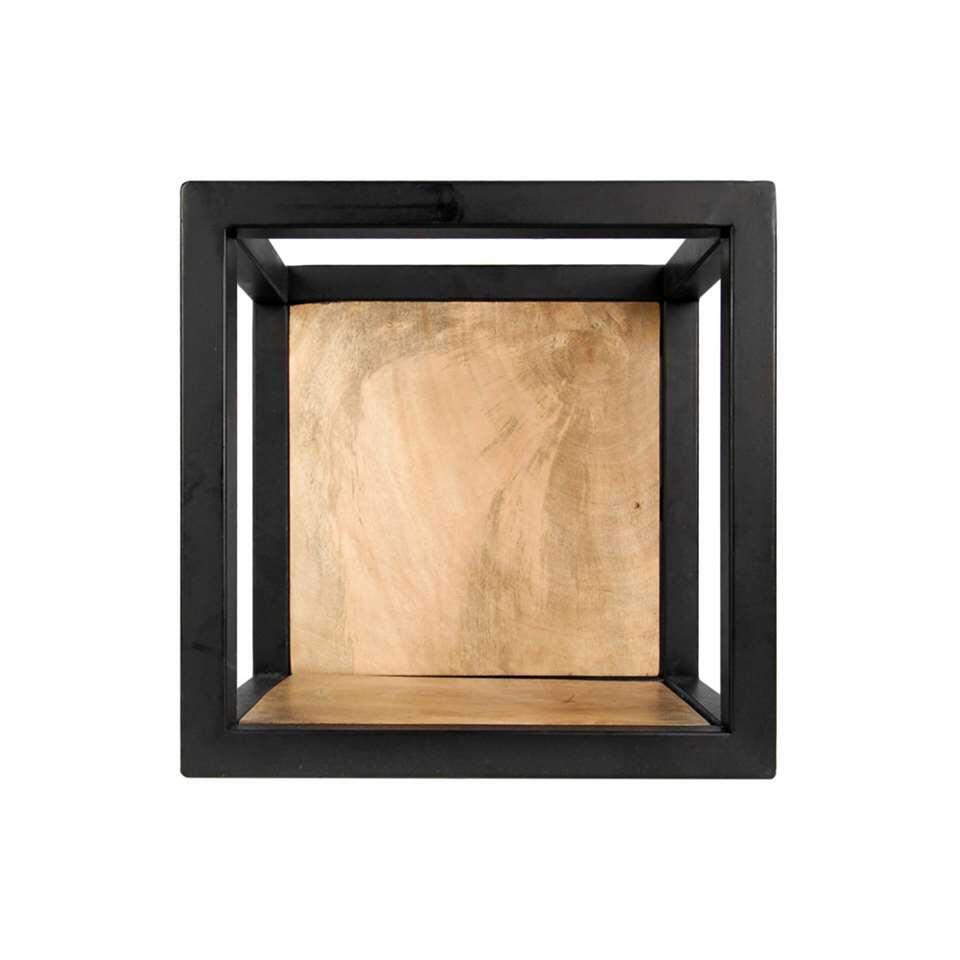 HSM Collection wandbox Levels - naturel/zwart - 25x18x25 cm - Leen Bakker