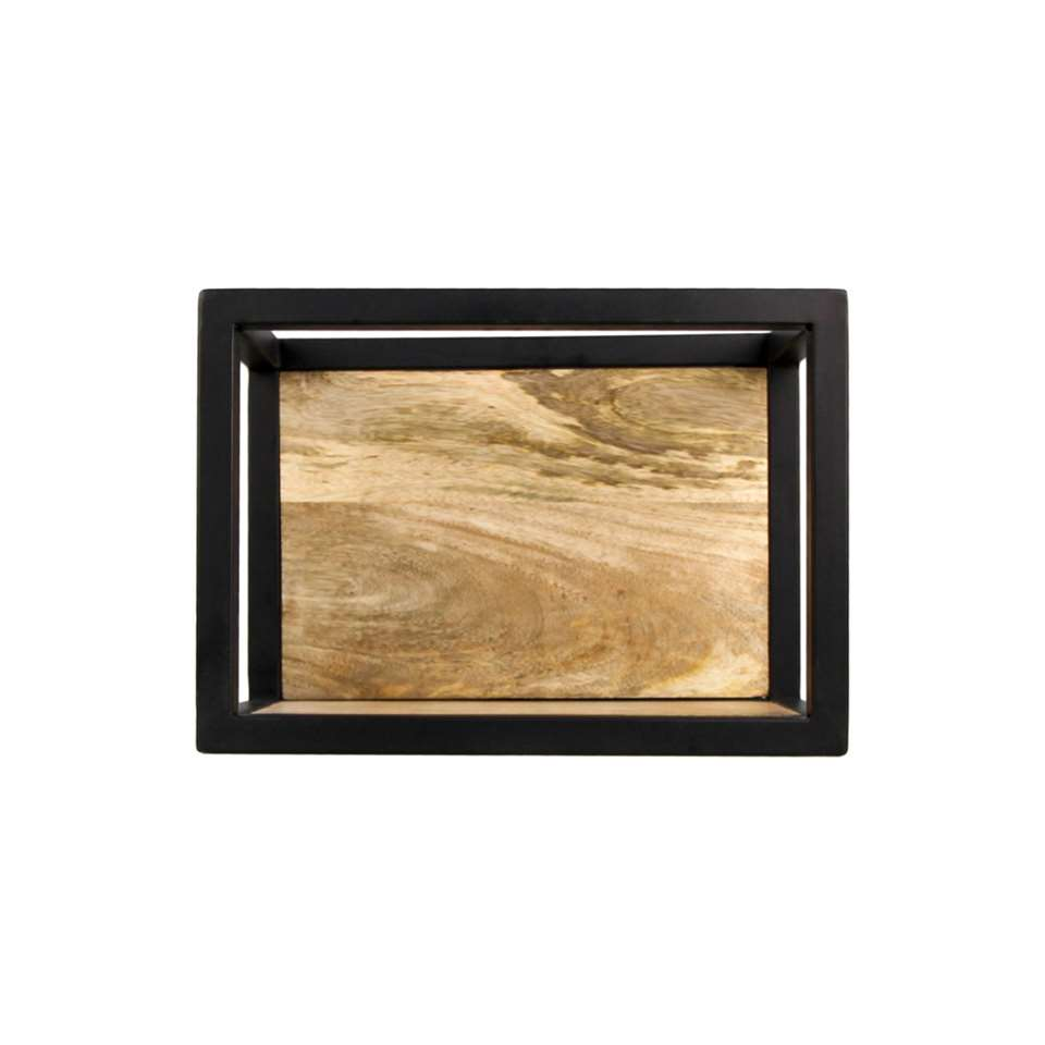 HSM Collection wandbox Levels - naturel/zwart - 35x18x25 cm - Leen Bakker