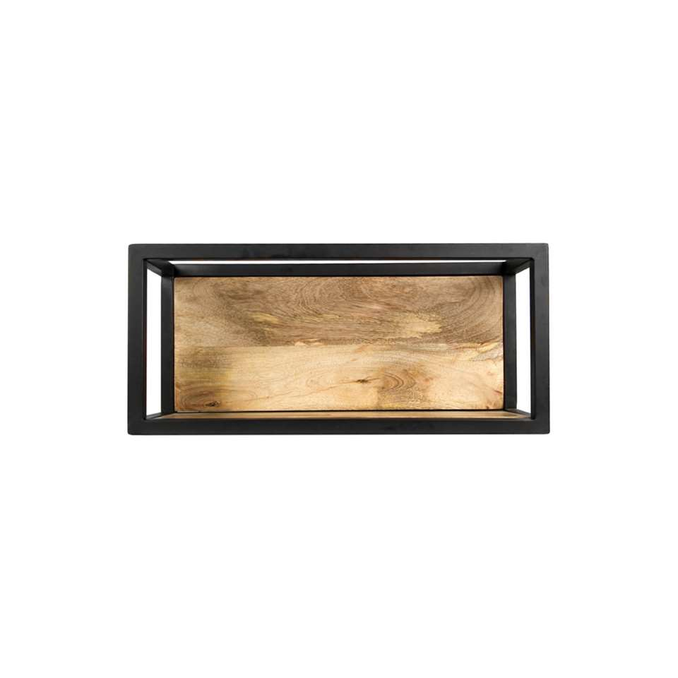 HSM Collection wandbox Levels – naturel/zwart – 55x18x25 cm – Leen Bakker