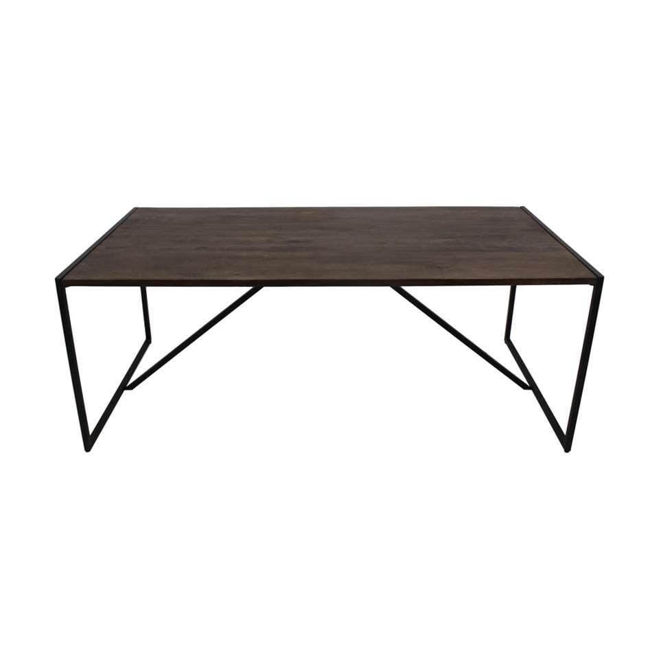 HSM Collection eettafel Ravian - bruin/zwart - 220x100x77 cm