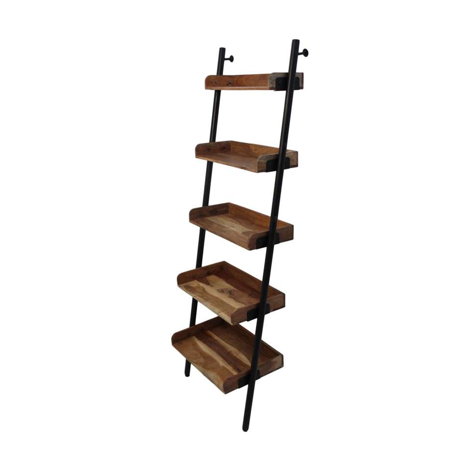 HSM Collection decoratieve ladder Hayo - zwart/naturel - 60x35x180 cm
