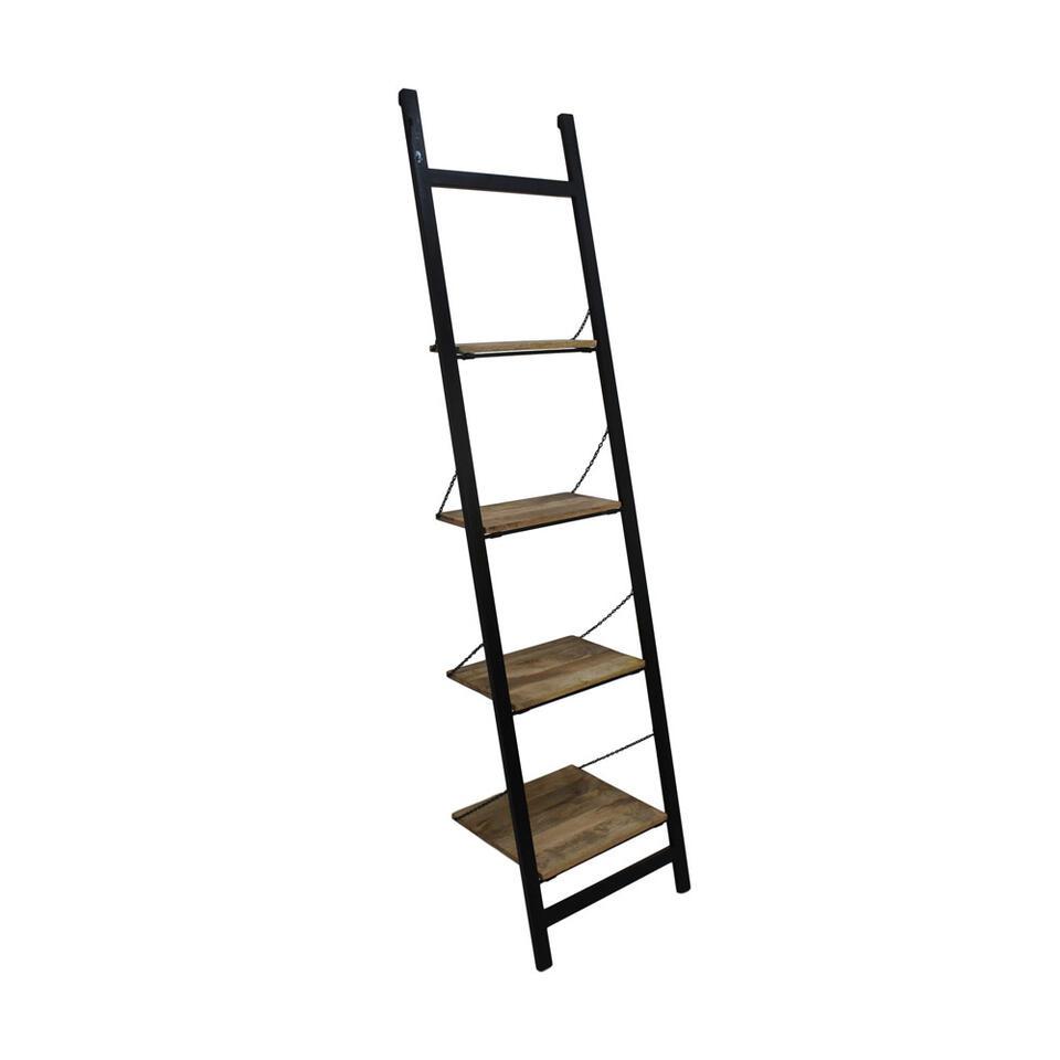 HSM Collection decoratieve ladder Hayo - zwart/naturel - 55x40x220 cm - Leen Bakker