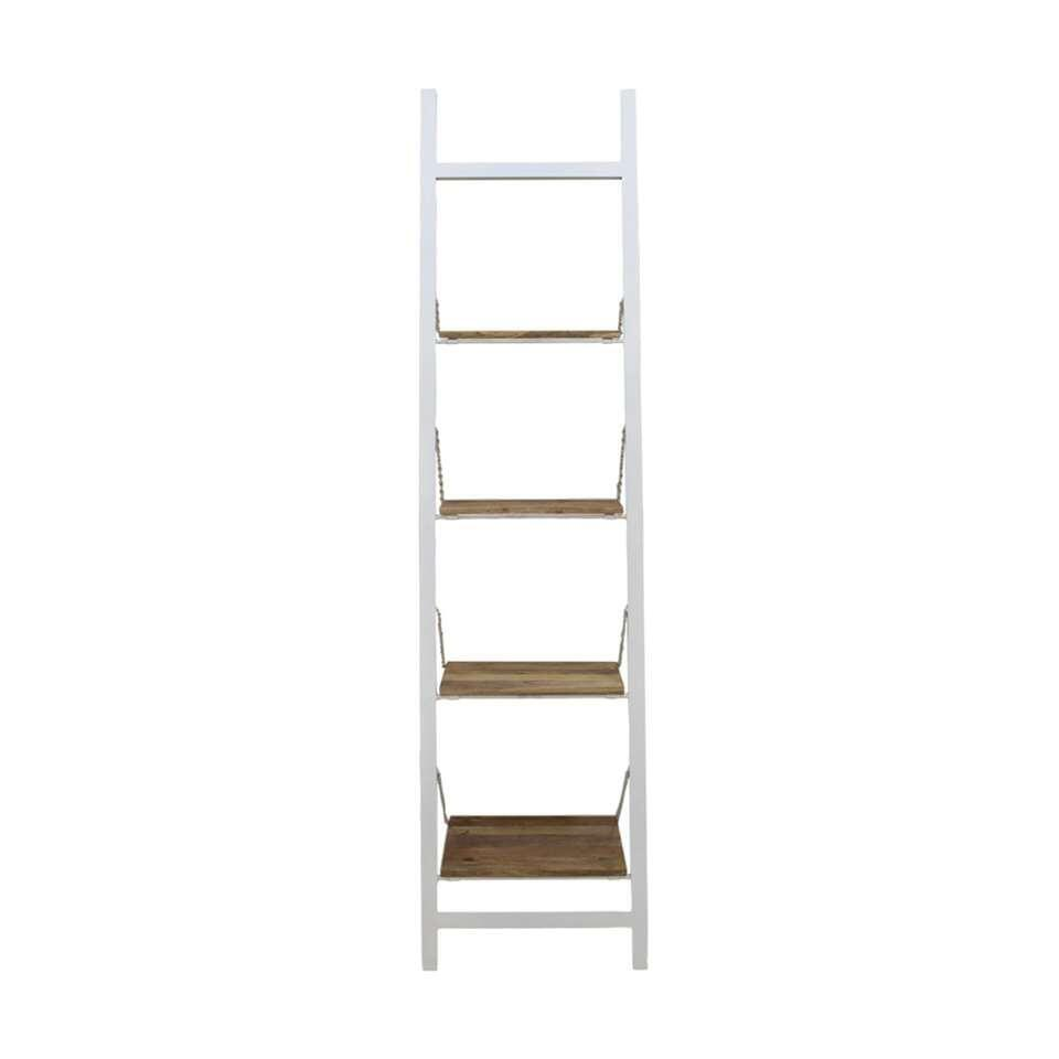 HSM Collection decoratieve ladder Hayo - wit/naturel - 55x40x220 cm - Leen Bakker