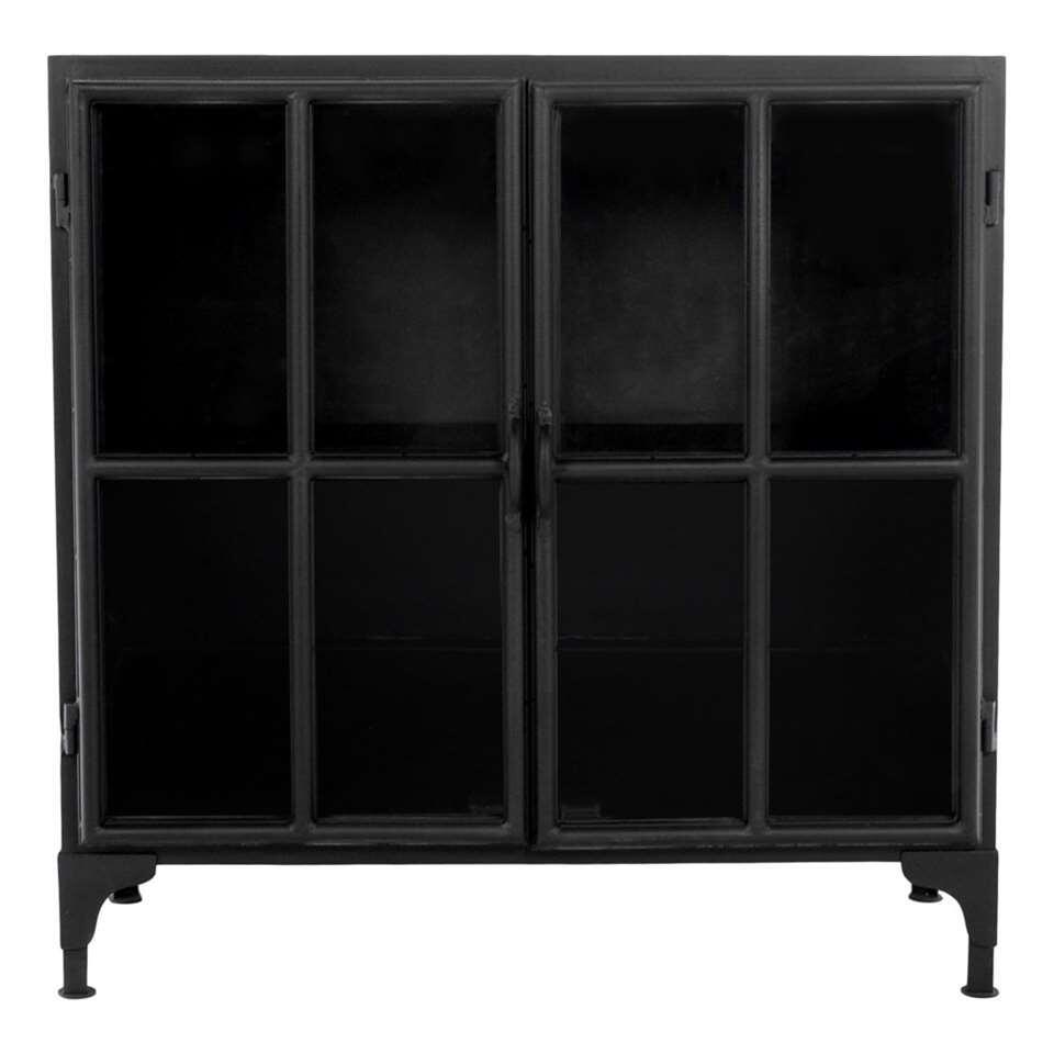 HSM Collection vitrinekastje Manhattan - zwart - 90x40x90 cm - Leen Bakker