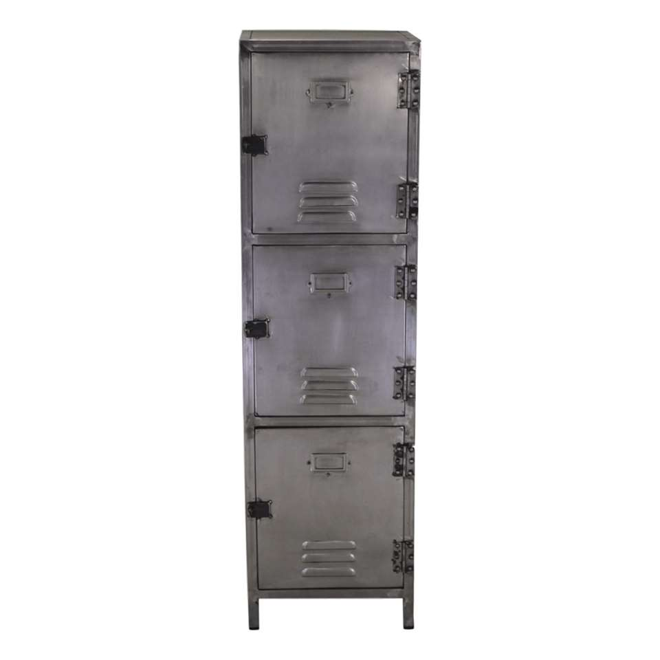 HSM Collection lockerkast York - zilverkleurig - 40x40x140 cm - Leen Bakker