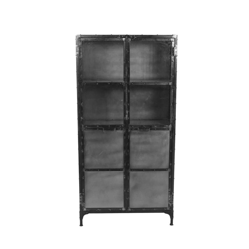 HSM Collection vitrinekast Brooklyn - zwart - 90x40x180 cm - Leen Bakker