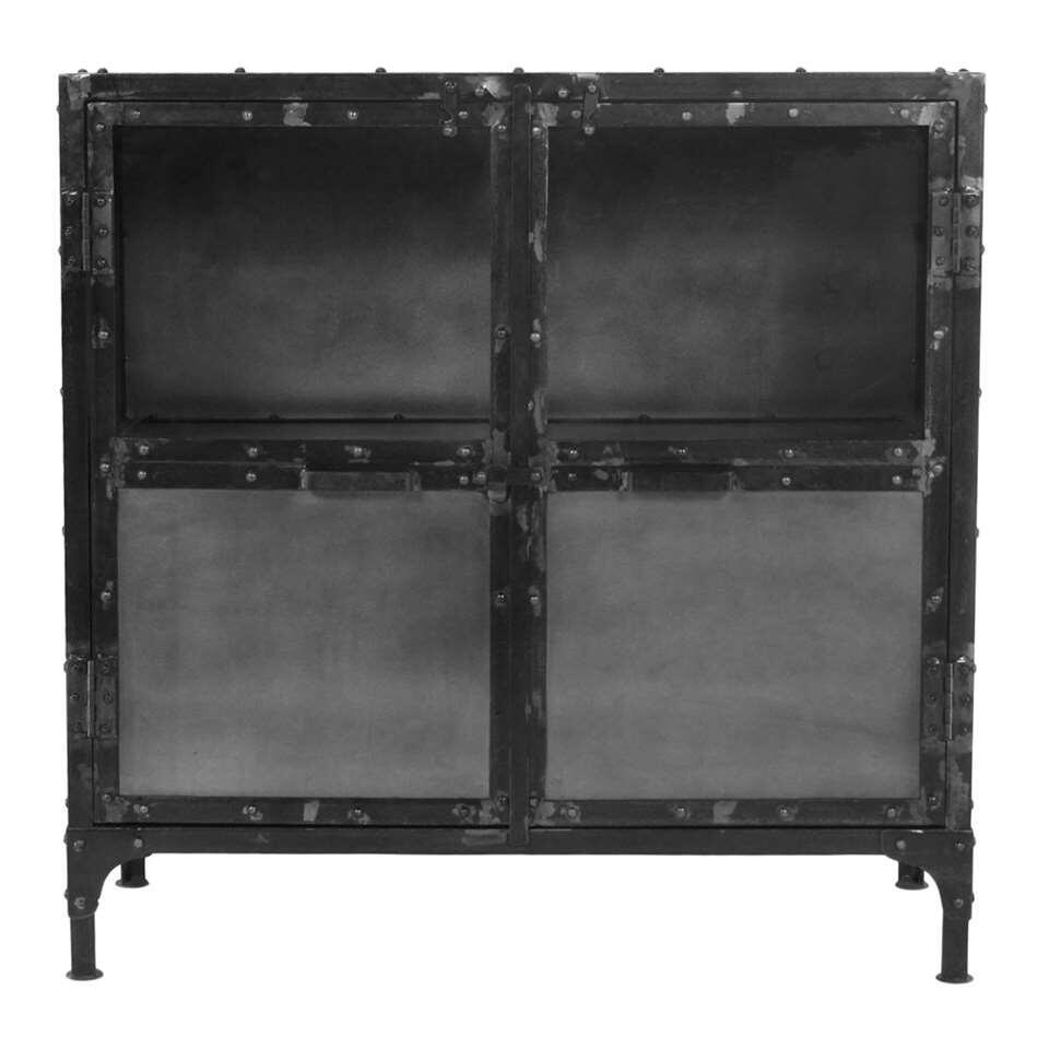HSM Collection vitrinekastje Brooklyn - zwart - 90x40x90 cm - Leen Bakker