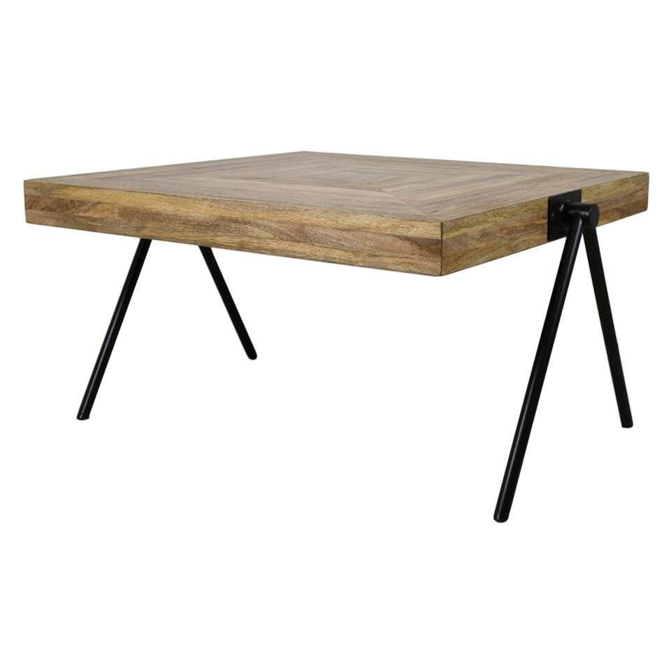 HSM Collection table de salon carrée Zain - marron/noire - 60x60x37 cm
