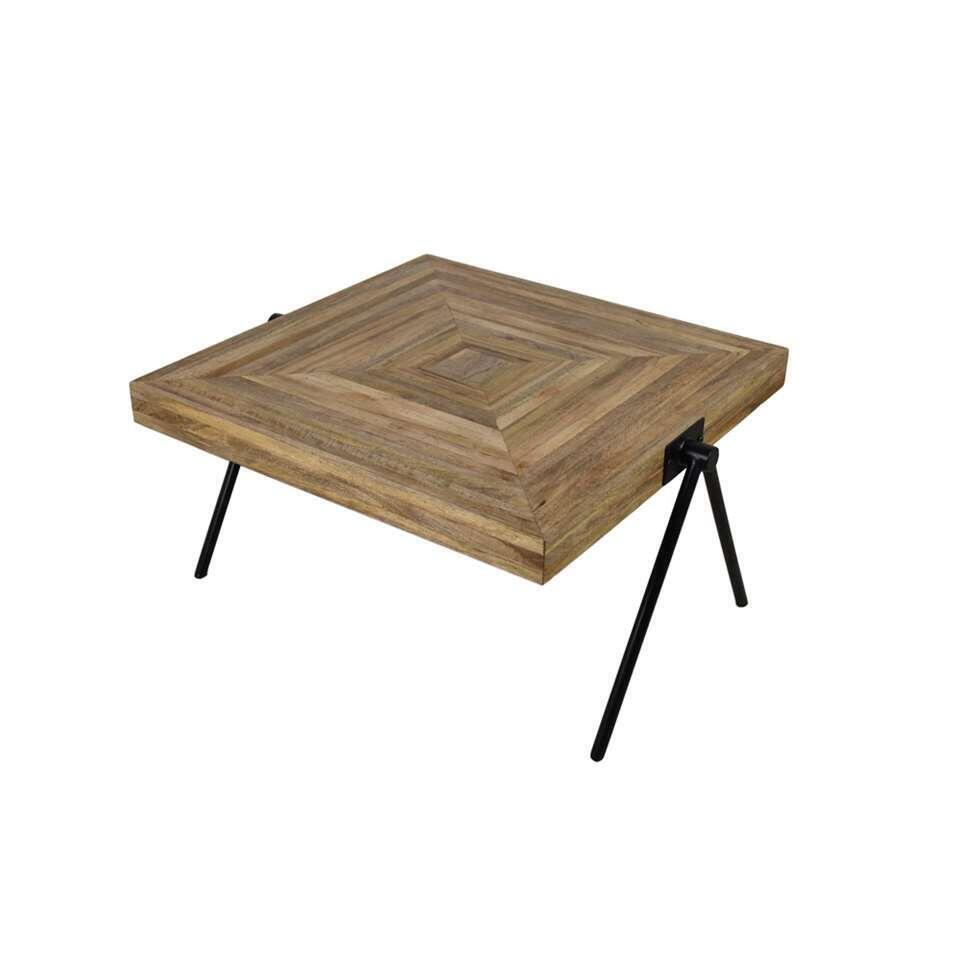 HSM Collection vierkante salontafel Zain - bruin/zwart - 80x80x46 cm - Leen Bakker