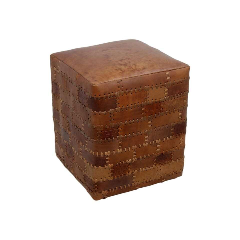 HSM Collection poef Jari - patchwork leder - vintage cognac