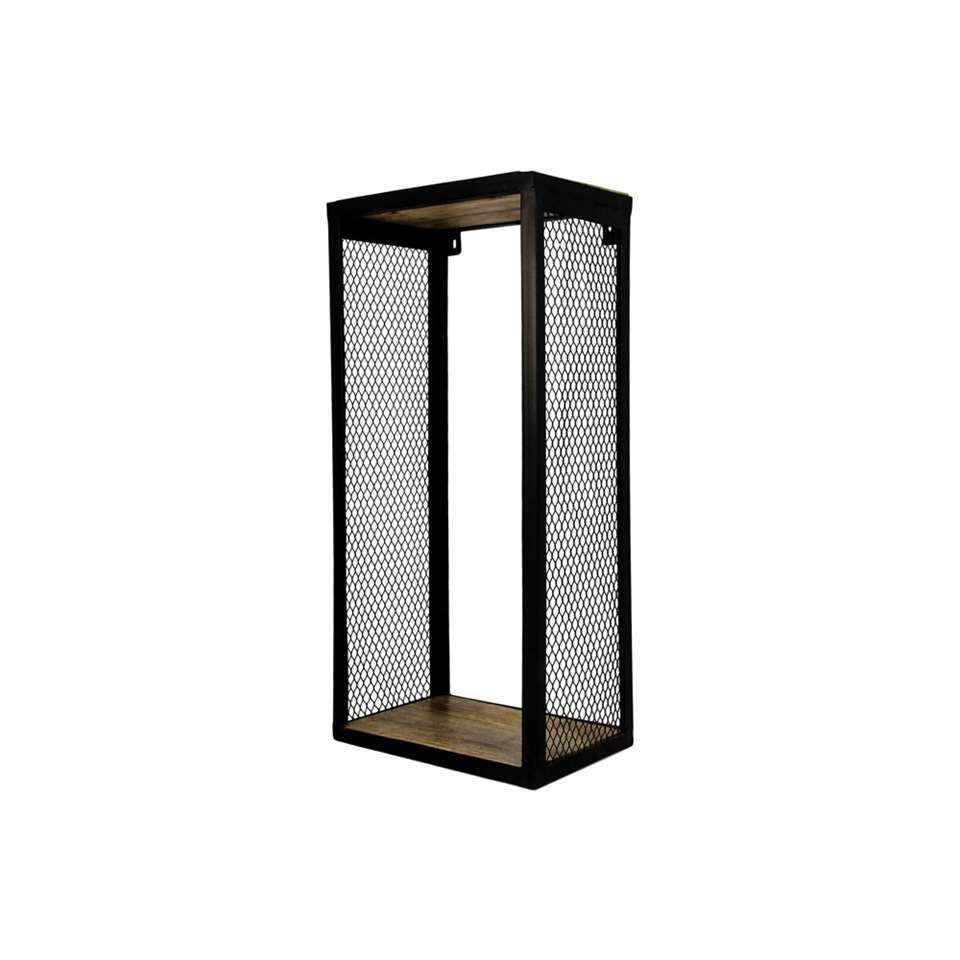 HSM Collection wandbox Brixton - naturel/zwart - 30x20x64 cm