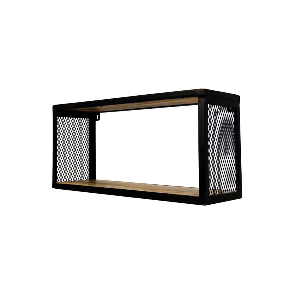 HSM Collection wandbox Brixton - naturel/zwart - 64x20x30 cm - Leen Bakker
