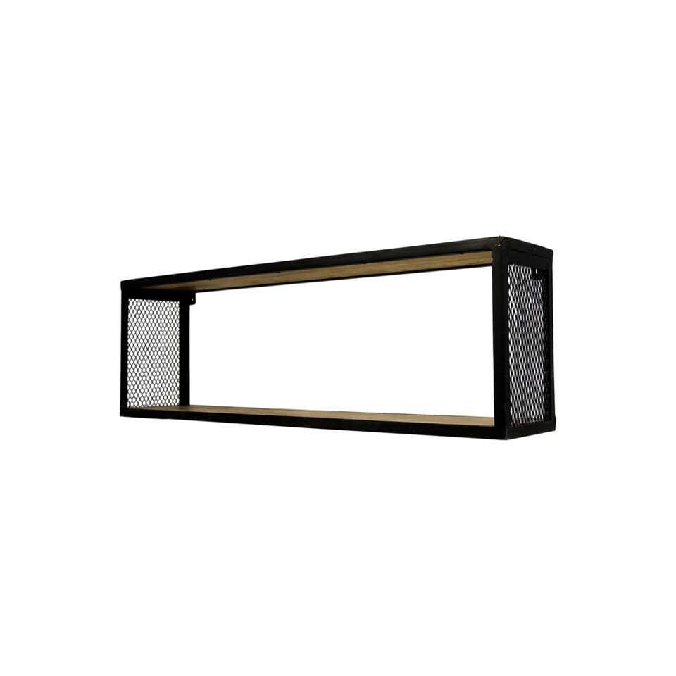 HSM Collection wandbox Brixton - naturel/zwart - 98x20x30 cm - Leen Bakker