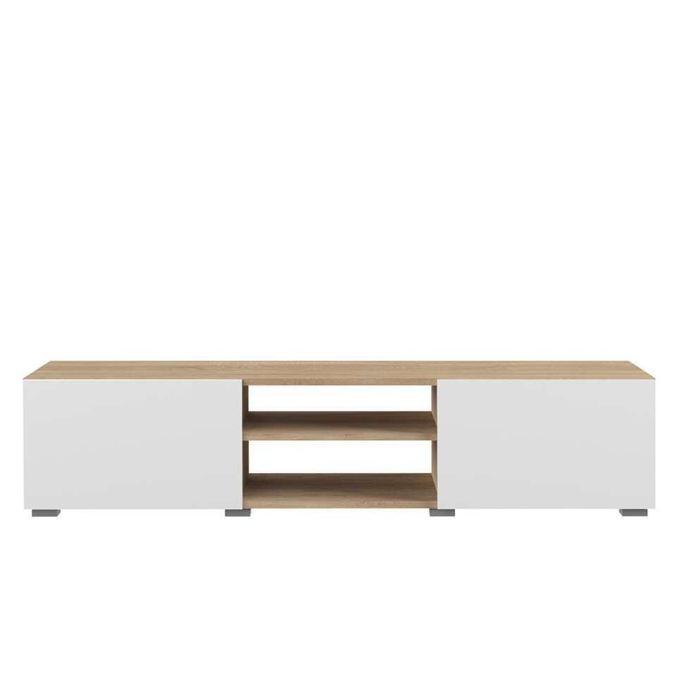 Symbiosis tv-meubel Borhaug 2 deuren - eikenkleur/wit - 31x140x42 cm - Leen Bakker