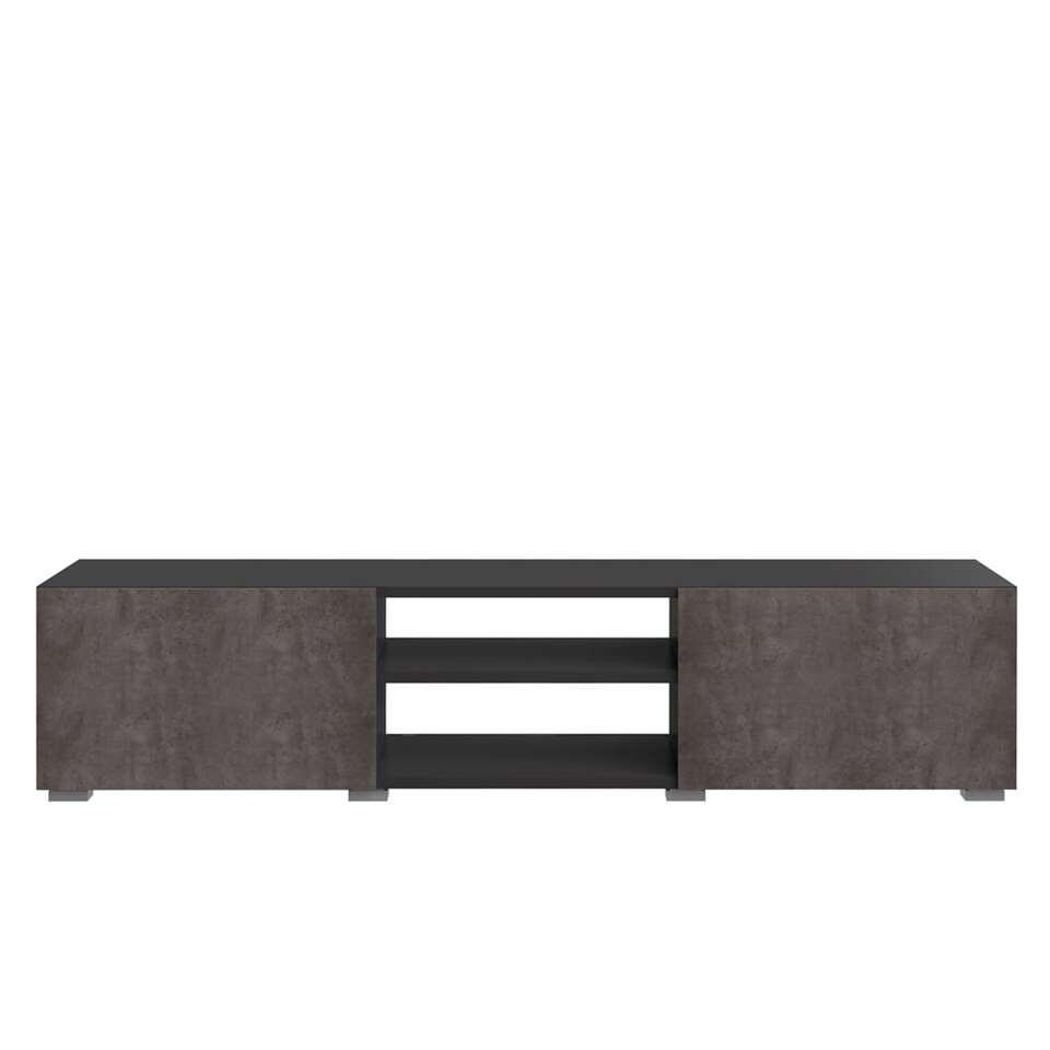 Symbiosis tv-meubel Borhaug 2 deuren - zwart/betonkleur - 31x140x42 cm
