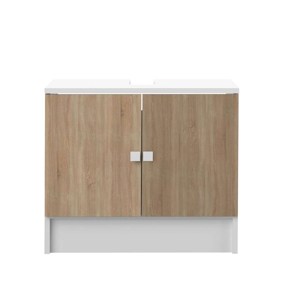 Symbiosis wastafelkast Bladstrup - wit/eikenkleur - 52,2x60x40 cm