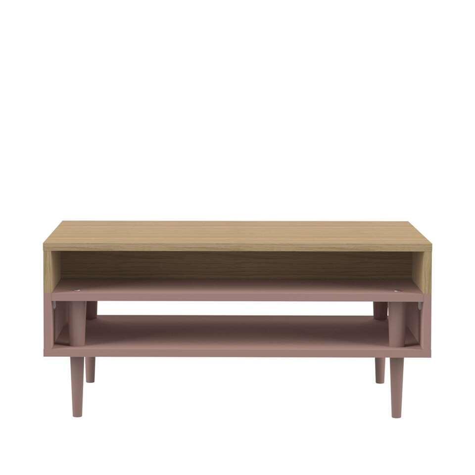 Symbiosis salontafel Esby - eikenkleur/oudroze - 37x80x53 cm - Leen Bakker