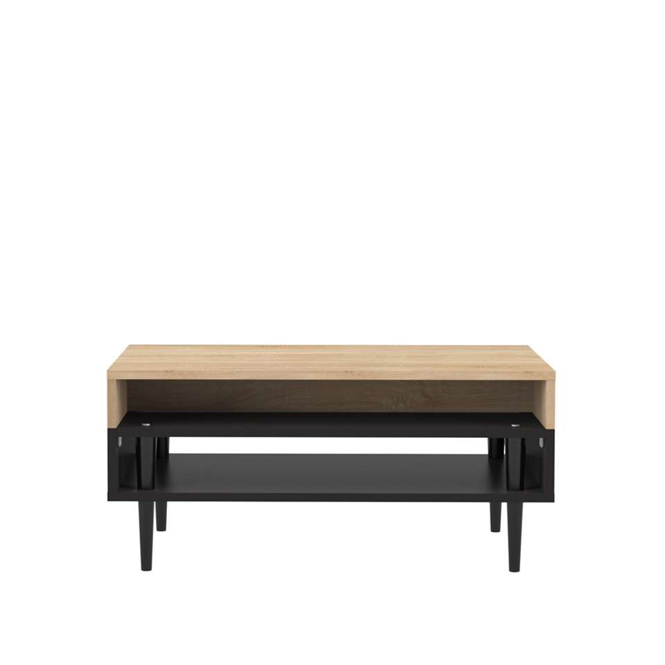 Symbiosis salontafel Esby - eikenkleur/zwart - 37x80x53 cm - Leen Bakker
