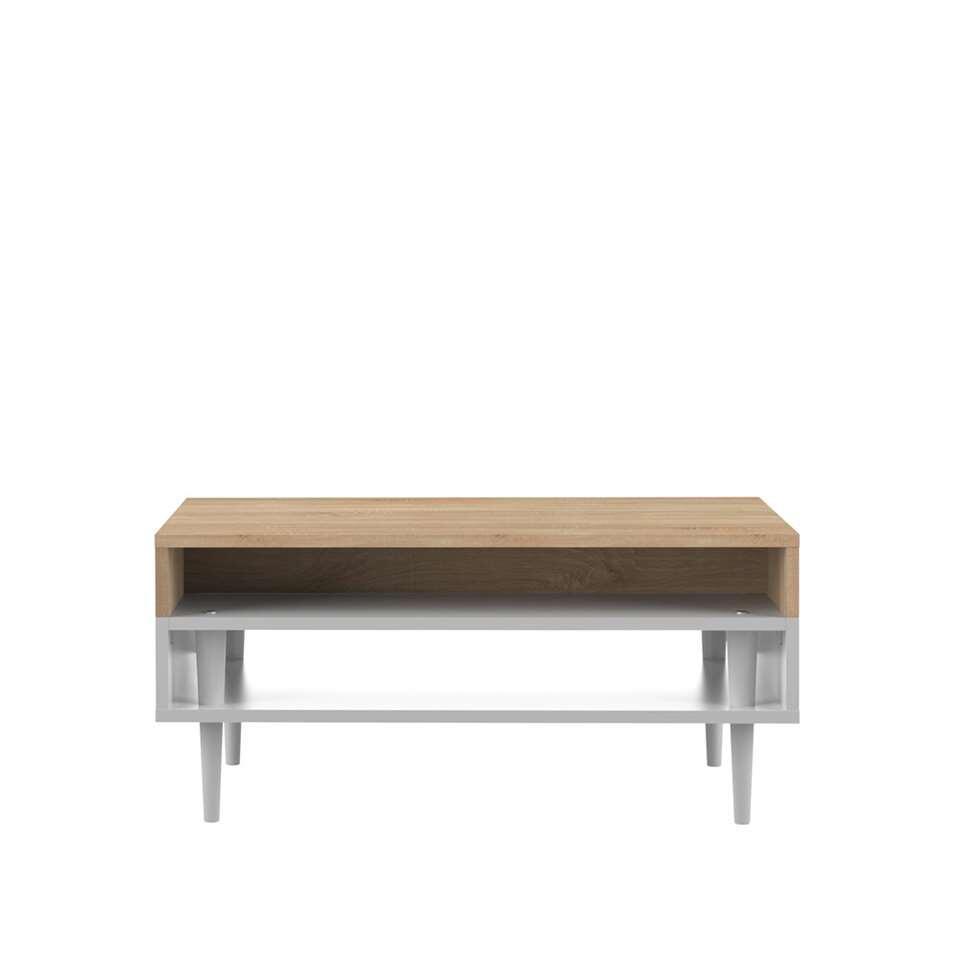 Symbiosis salontafel Esby - eikenkleur/wit - 37x80x53 cm - Leen Bakker