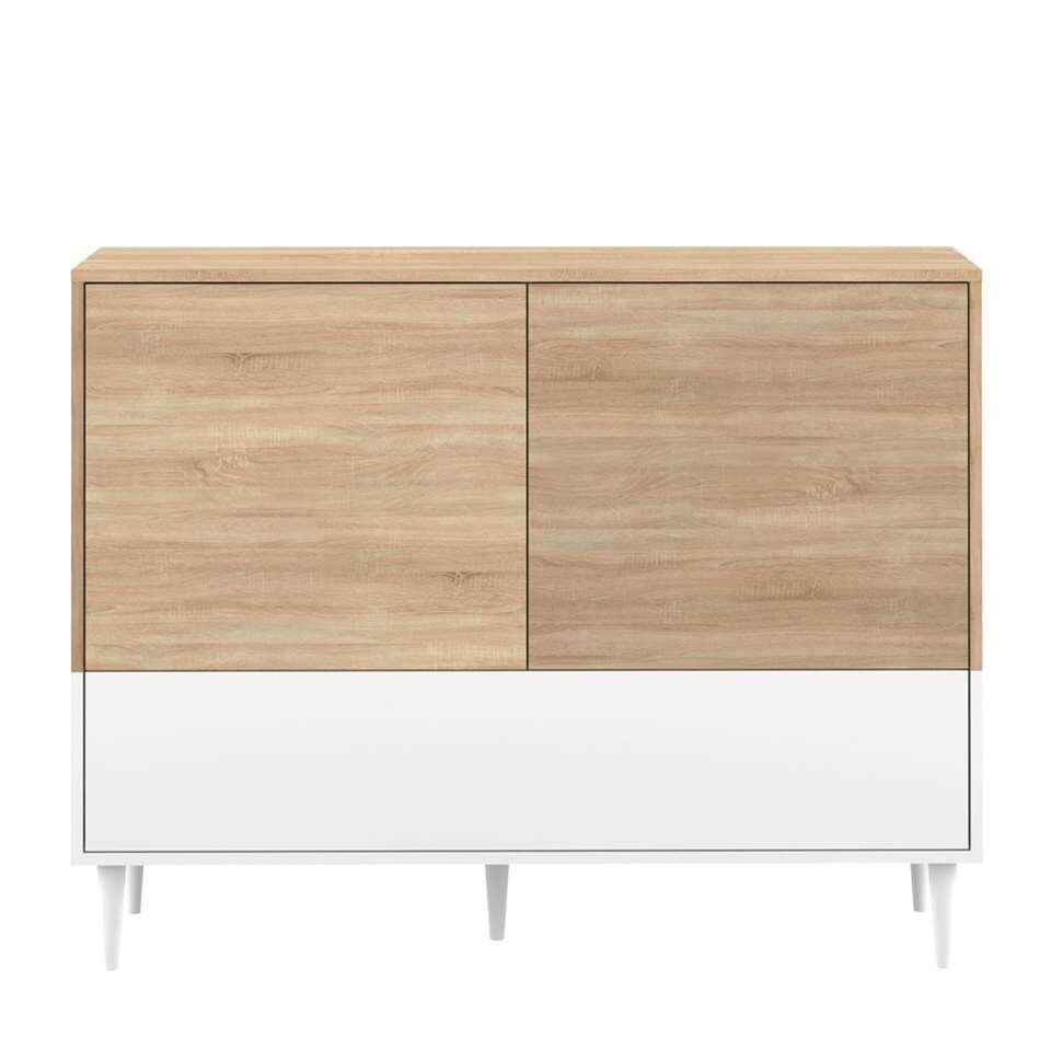Symbiosis dressoir Esby - eikenkleur/wit - 95,3x120x40 cm - Leen Bakker