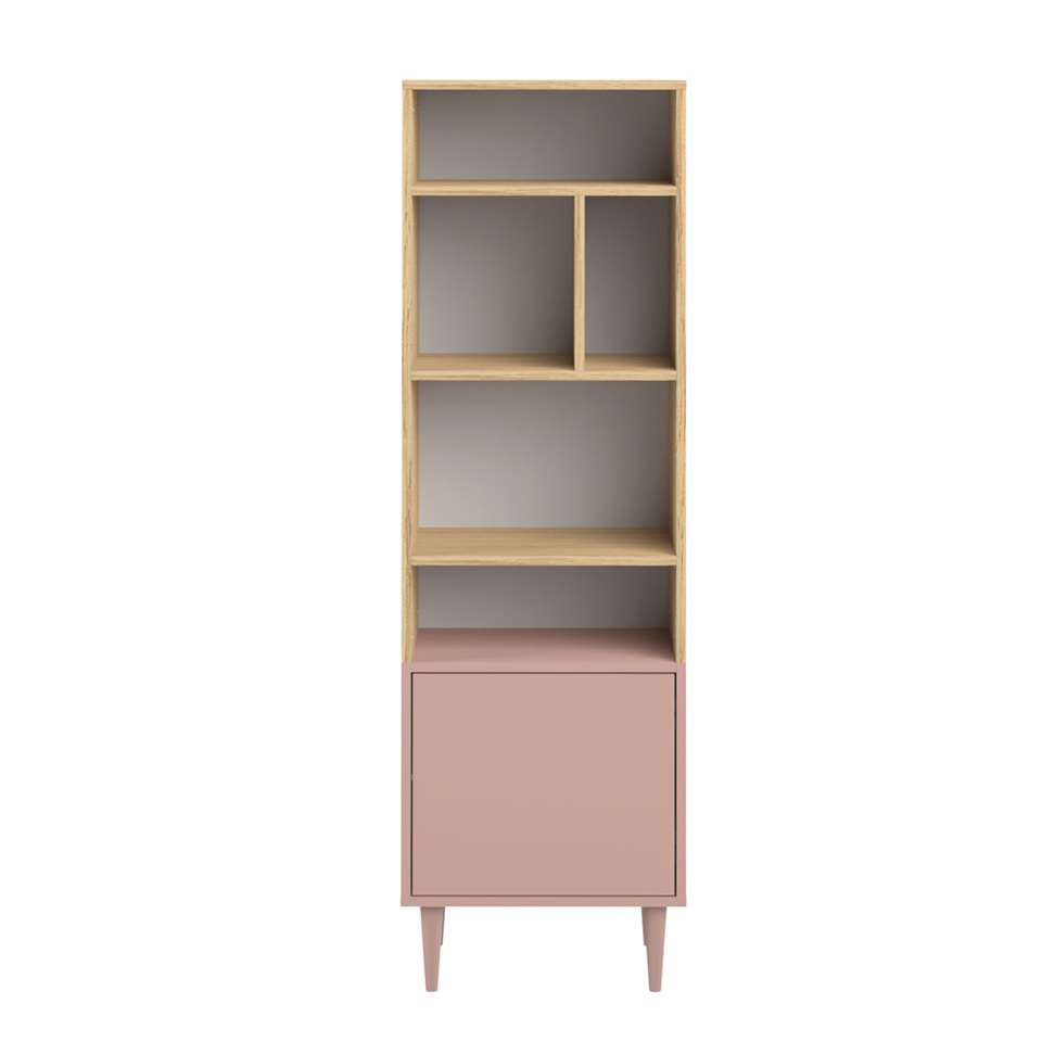 Symbiosis boekenkast Esby - eikenkleur/oudroze - 153,4x46,55x40 cm