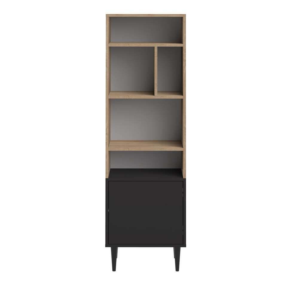 Symbiosis bibliothèque Esby - couleur chêne/noire - 153,4x46,55x40 cm