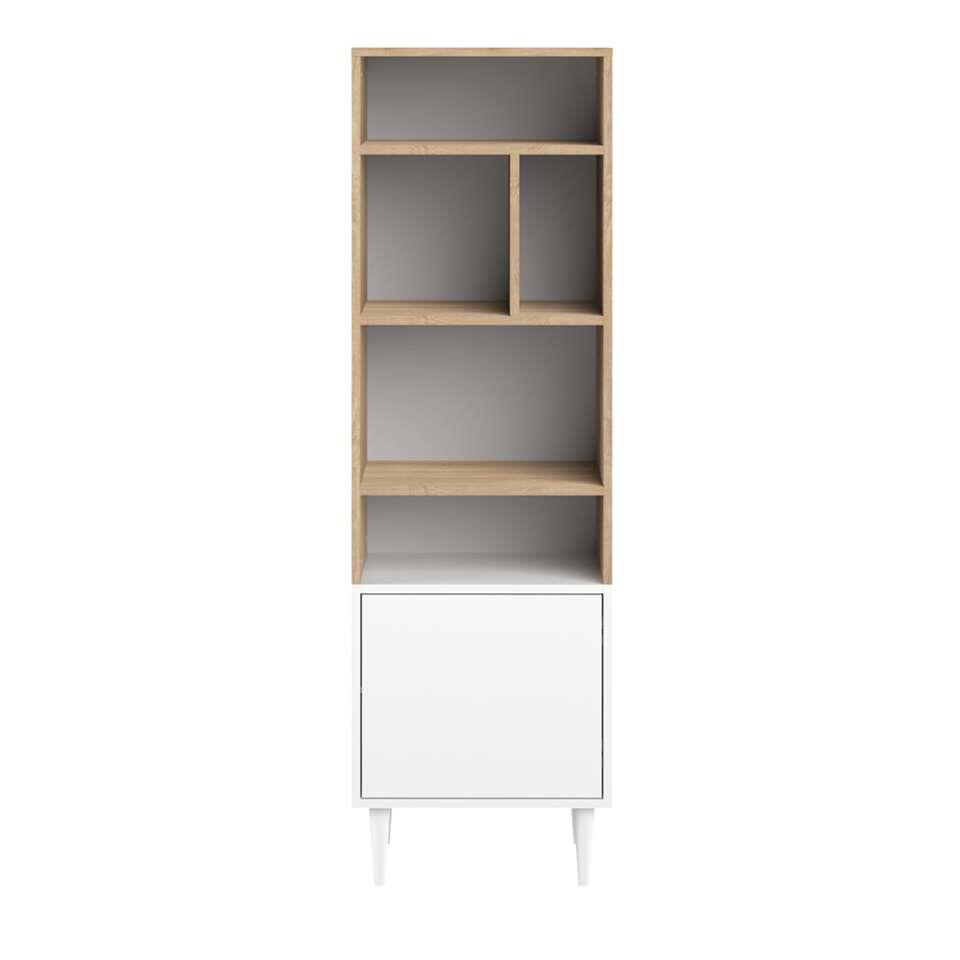 Symbiosis bibliothèque Esby - couleur chêne/blanche - 153,4x46,55x40 cm