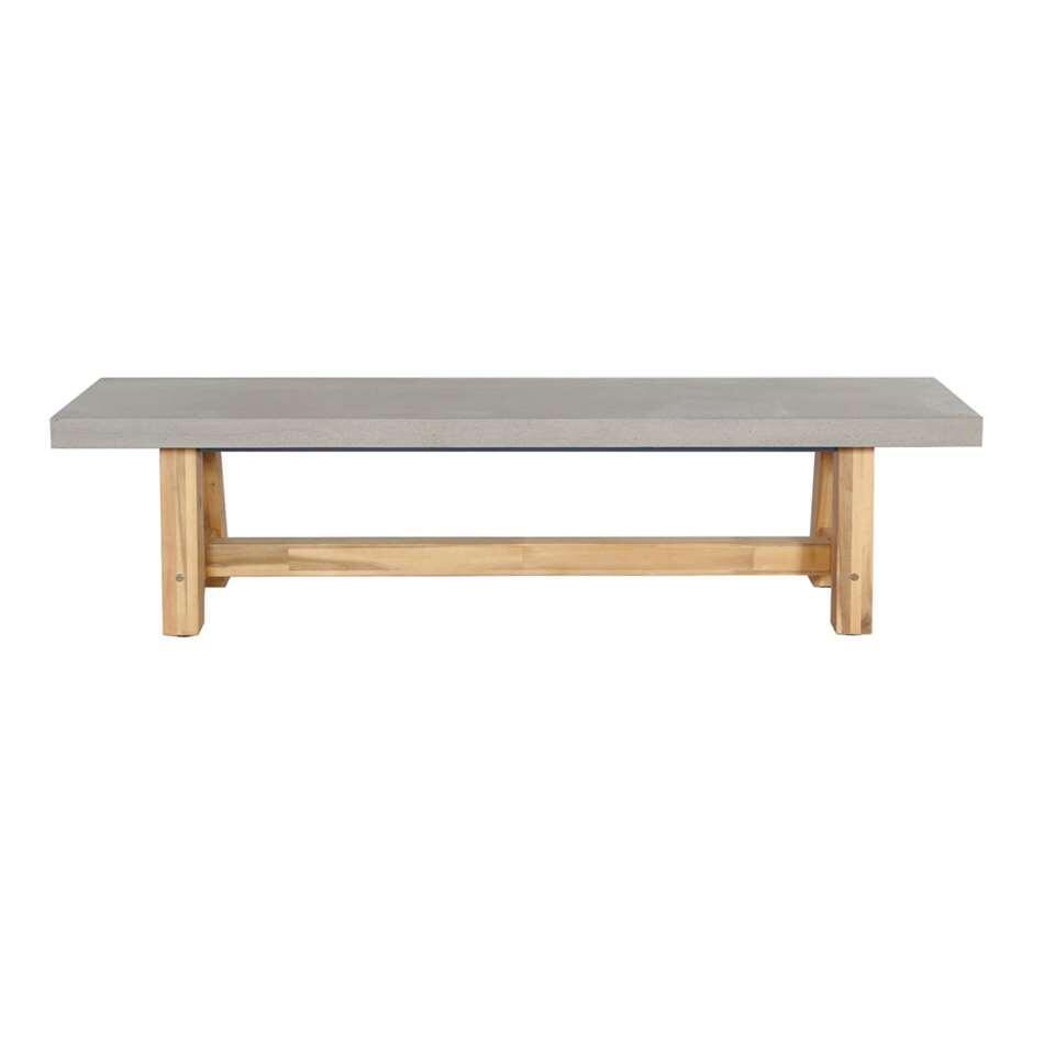 Tuinbank Veltis - grijs/naturel - 45x180x40 cm - Leen Bakker
