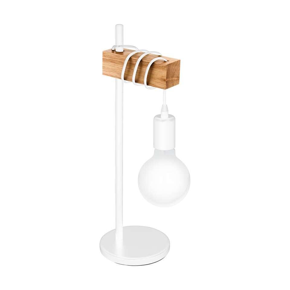 EGLO tafellamp Townshend - wit/eikenkleur