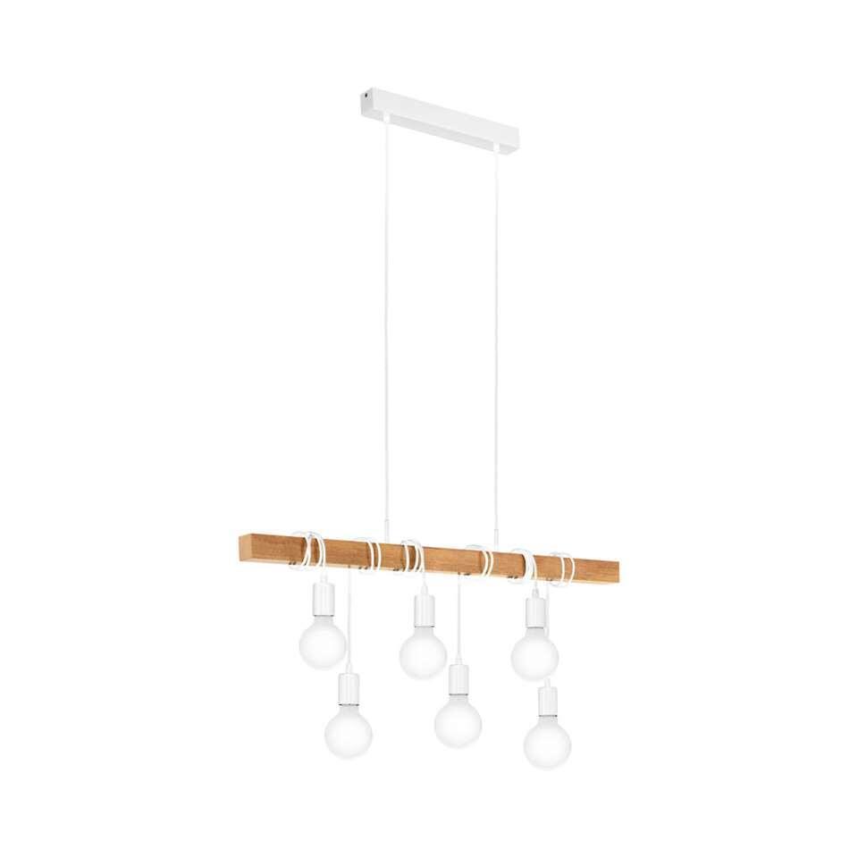 EGLO hanglamp Townshend 6-lichts - wit/eikenkleur