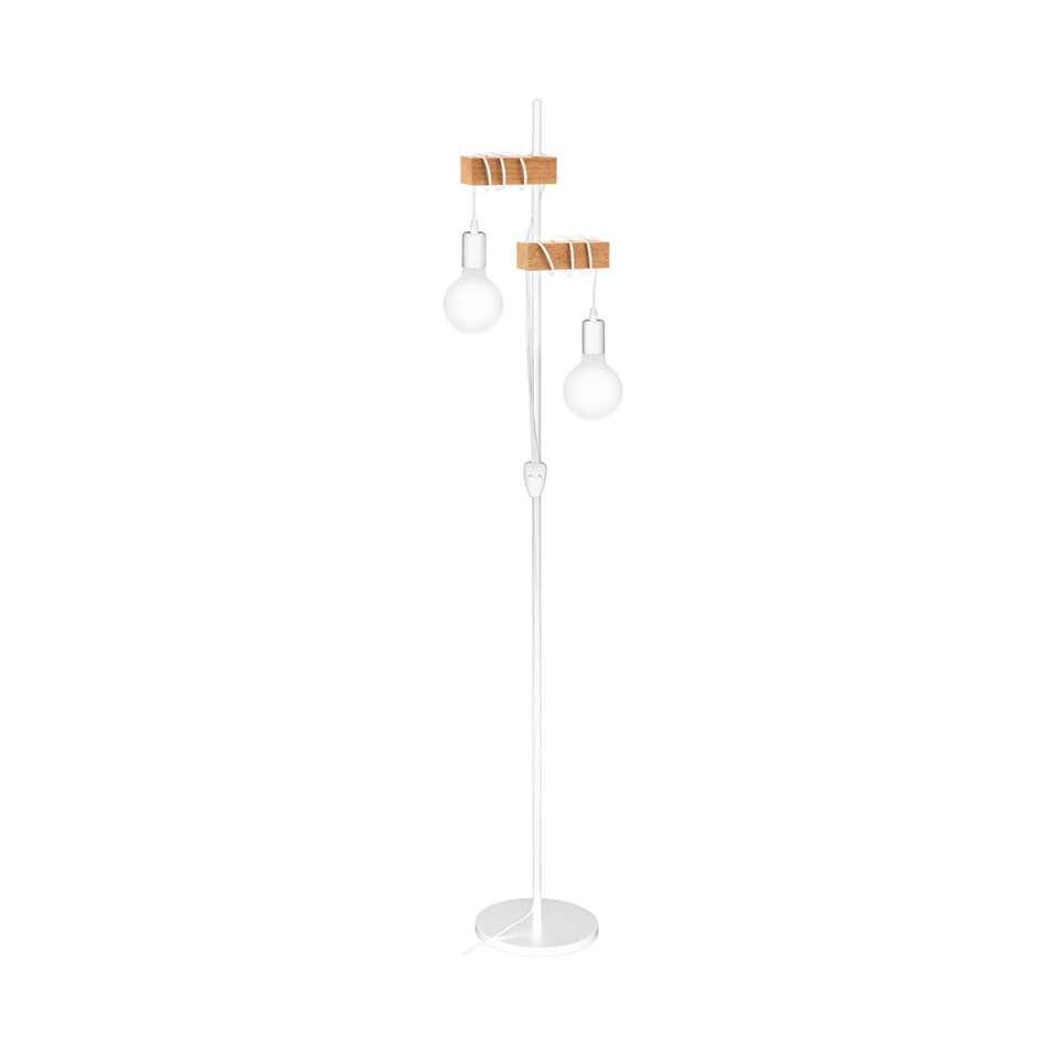 EGLO vloerlamp Townshend - wit/eikenkleur
